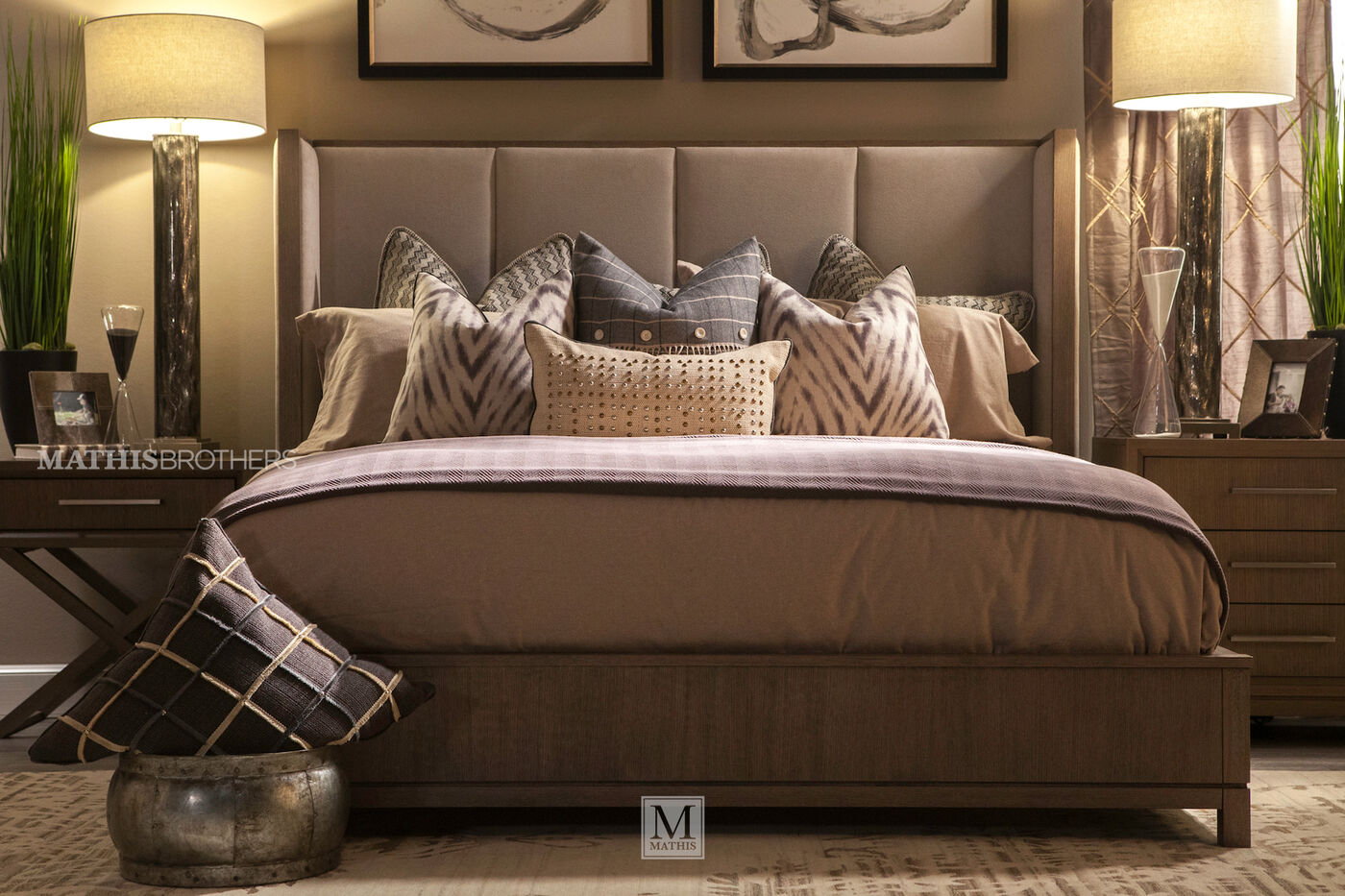 Four Piece Modern Bedroom Set In Brown Mathis Brothers