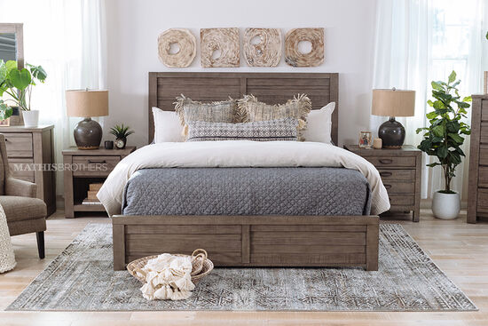 Four-Piece Wood King Bed Suite in Gray