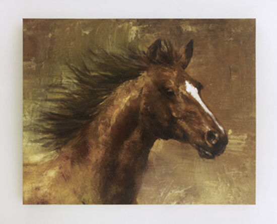 Casual Horse Canvas Wall Art in Brown/Gold