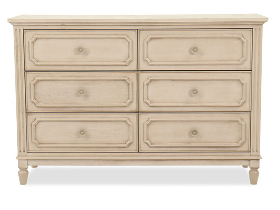 Six-Drawer Transitional Youth Dresser in Vintage Taupe