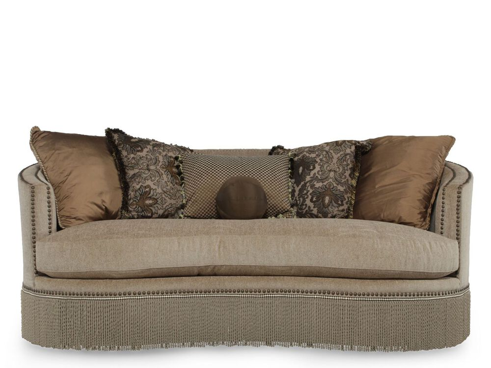 Fringed Traditional Demilune Sofa in Tan