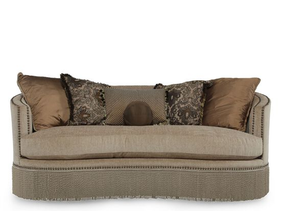 fringed traditional demilune sofa in tan mathis brothers furniture. Black Bedroom Furniture Sets. Home Design Ideas