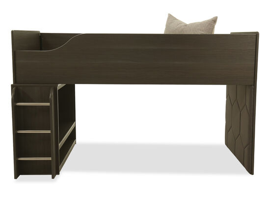 Contemporary LED Youth Twin Loft Bed in Gray