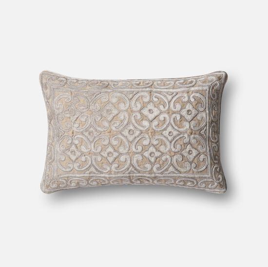 """Contemporary 13""""x21"""" Cover w/down pillow in Silver/Taupe"""