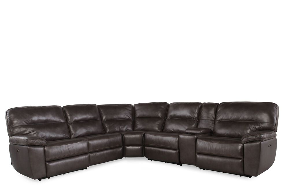 Six-Piece Contemporary Leather Reclining Sectional in Dark Gray
