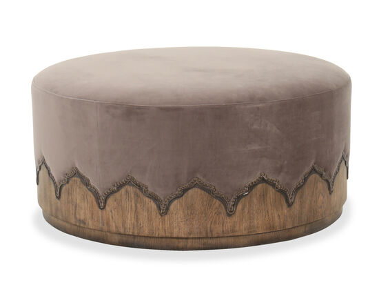 "Traditional 40"" Round Cocktail Ottoman in Gray"