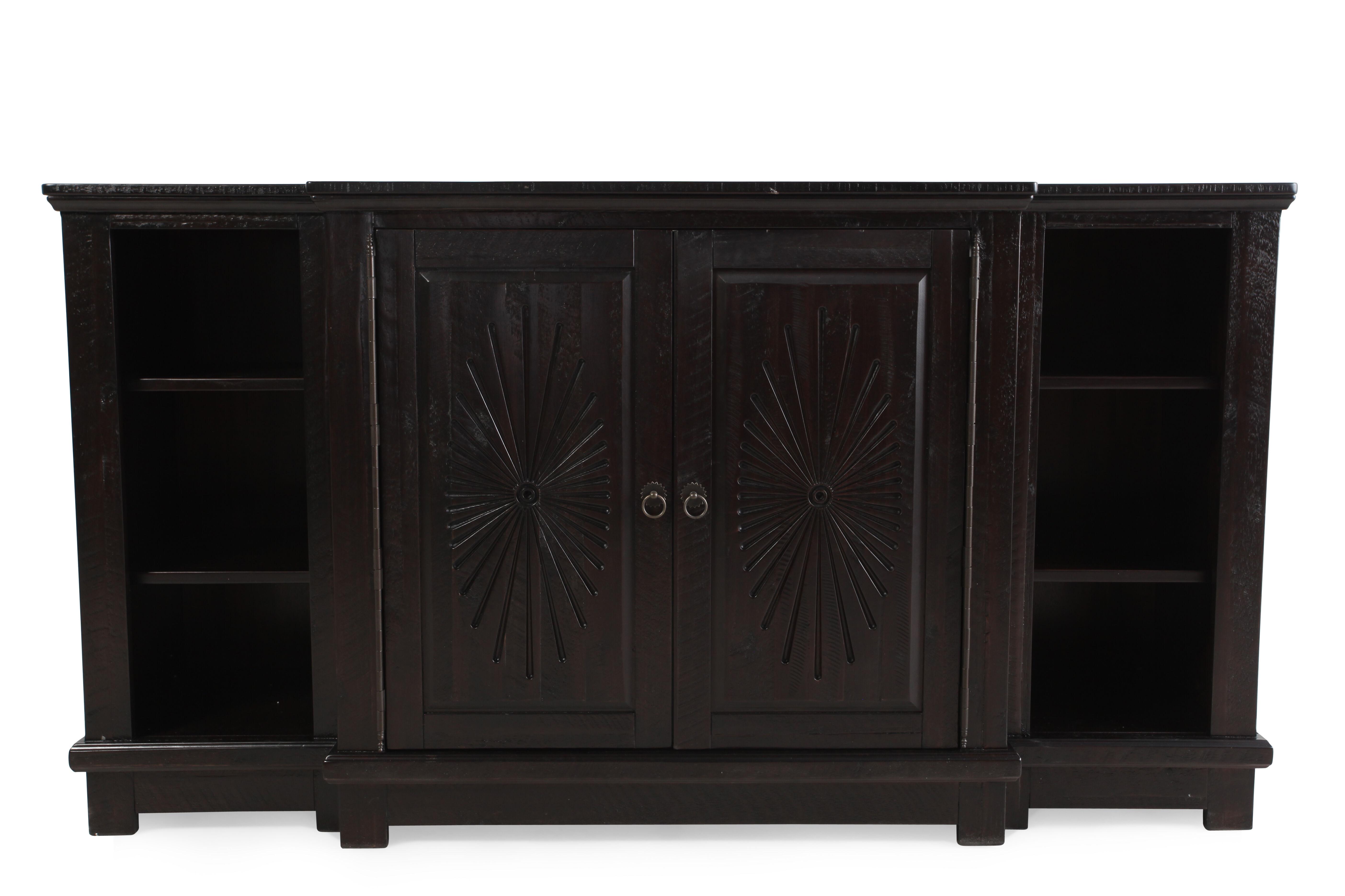 Credenza Dark : Three drawer contemporary tv credenza in dark oak mathis