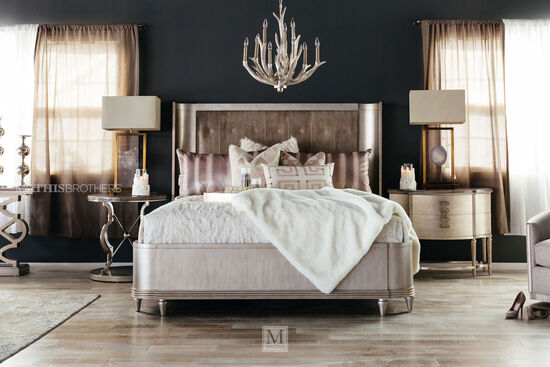 Casual Button Tufted Shelter King Bed in Gray