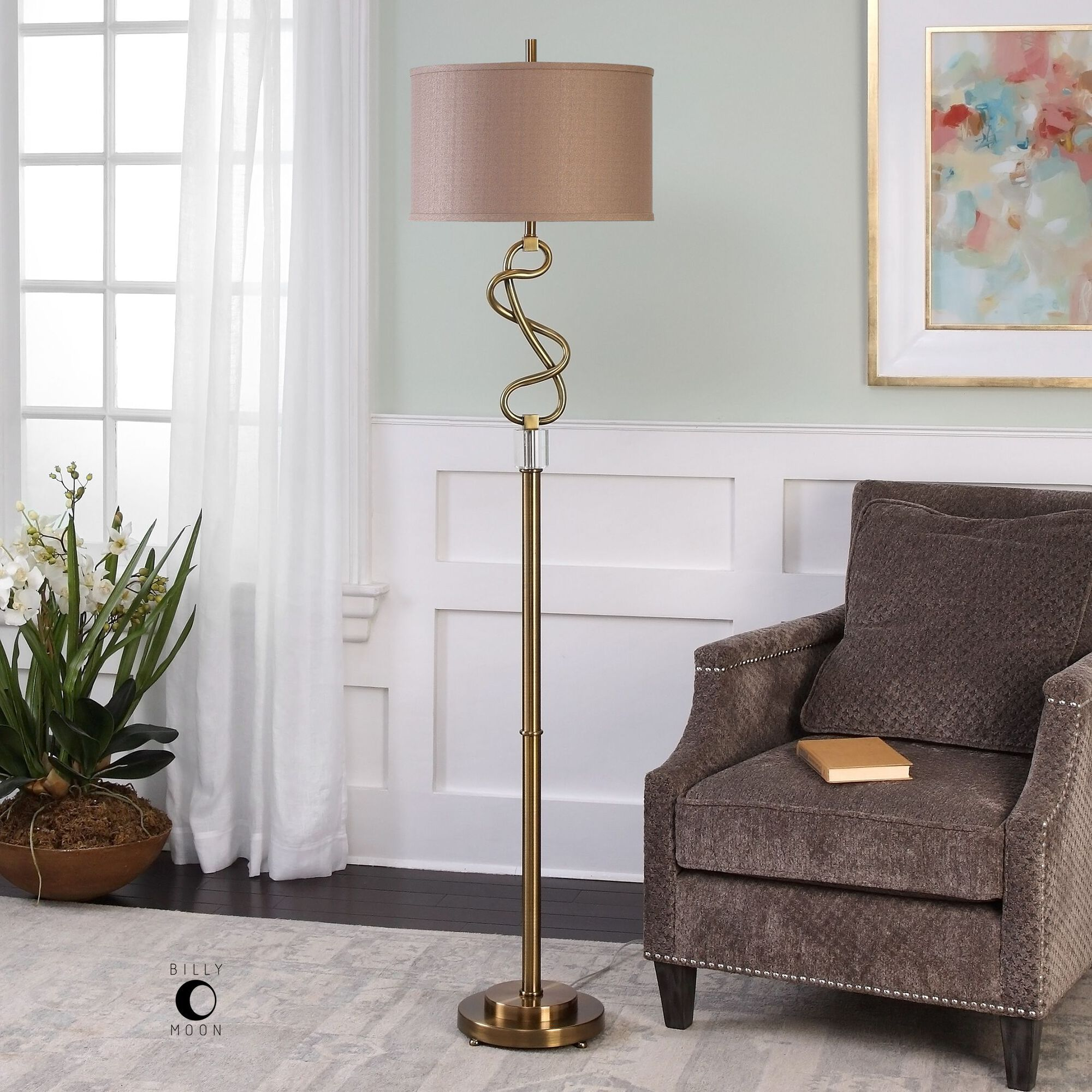 Hand Forged Twisted Floor Lamp in Brushed Brass   Mathis ...