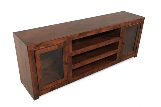 Framed-Glass Door Contemporary TV Console in Warm Fruitwood