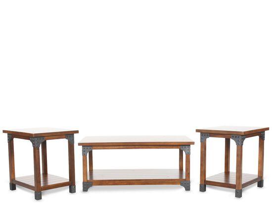 Three-Piece Nailhead Trim Contemporary Occasional Table Set in Dark Brown