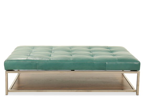 "Tufted Leather 63"" Storage Ottoman in Turquoise"