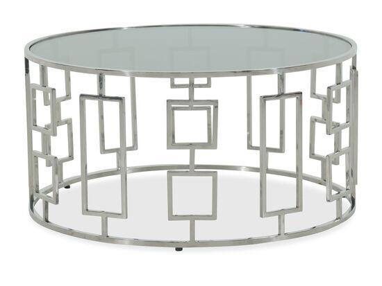 Round Geometric Base Modern Cocktail Tablein Silver