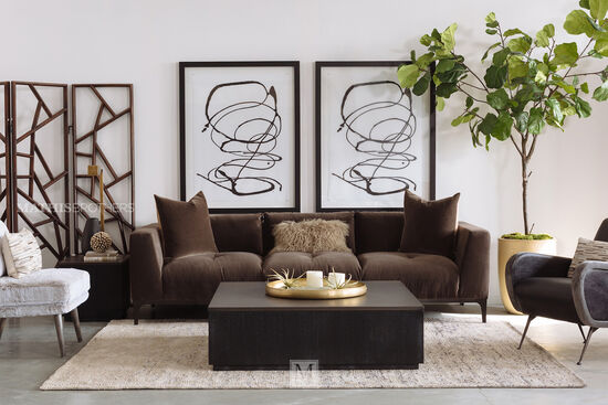 Button Tufted Sofa in Brown