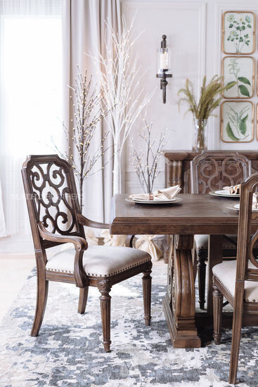 "Traditional 42"" Fret Back Dining Chair in Beige"