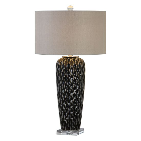 Crystal-Foot Textured Serpentine Table Lamp in Mocha Bronze
