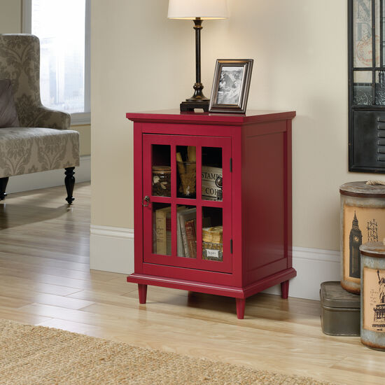 27'' Glass Door Contemporary Side Table in Red Berry