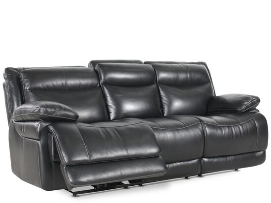 "Leather 91"" Power Reclining Sofa in Midnight Black"