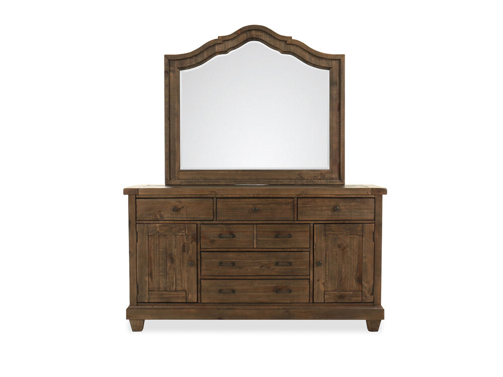 Two-Piece Distressed Wooden Dresser and Mirror in Dark Brown