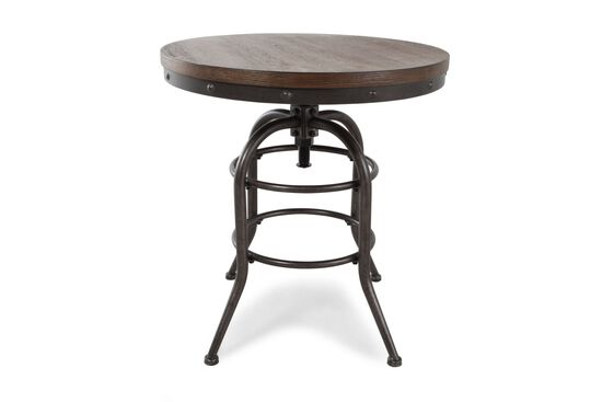 Distressed Round Rustic Farmhouse End Table in Blackened Steel