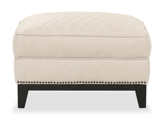 Diamond Quilted Leather Ottoman in Cream
