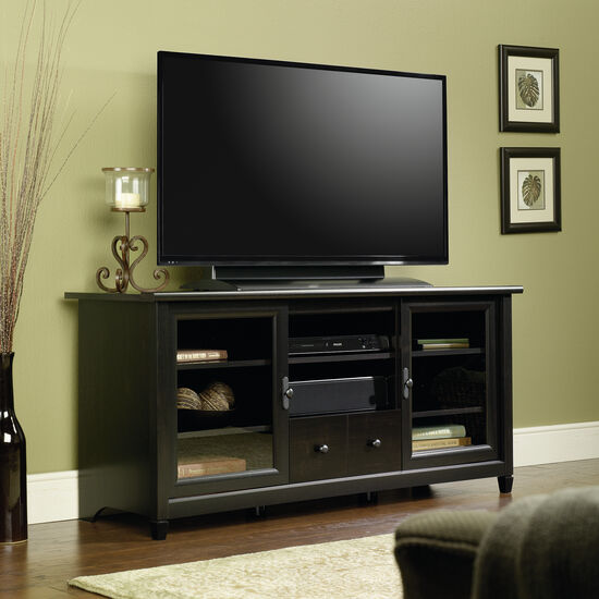 Two-Glass Door Transitional Entertainment Credenza in Estate Black