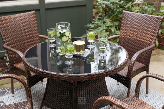 Five-Piece Contemporary Patio Dining Set in Espresso