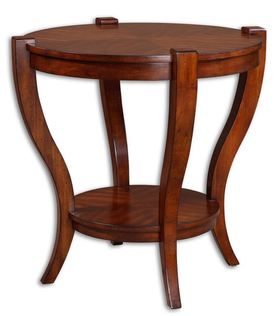 Carved Legs Round End Table in Antique Pecan