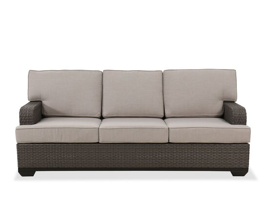 Casual Three-Cushion Sofa in Brown