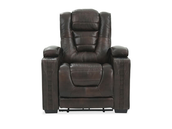 Nailhead Accented Leather 38'' Power Recliner in Brown
