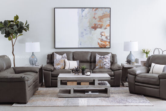 Casual Leather Sofa in Charcoal