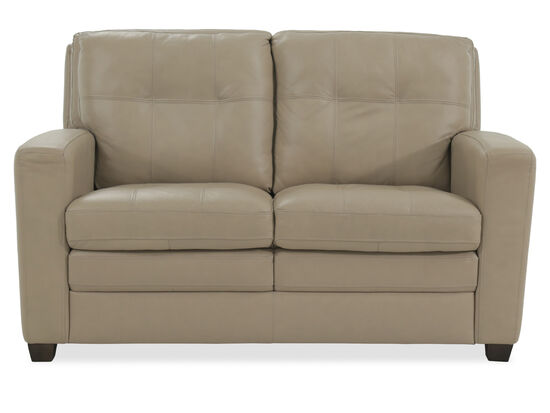 "Leather 59"" Loveseat in Beige"
