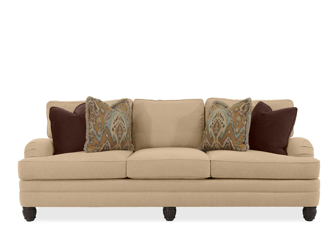 Casual 96 5 textured sofa in beige mathis brothers for Casual couch