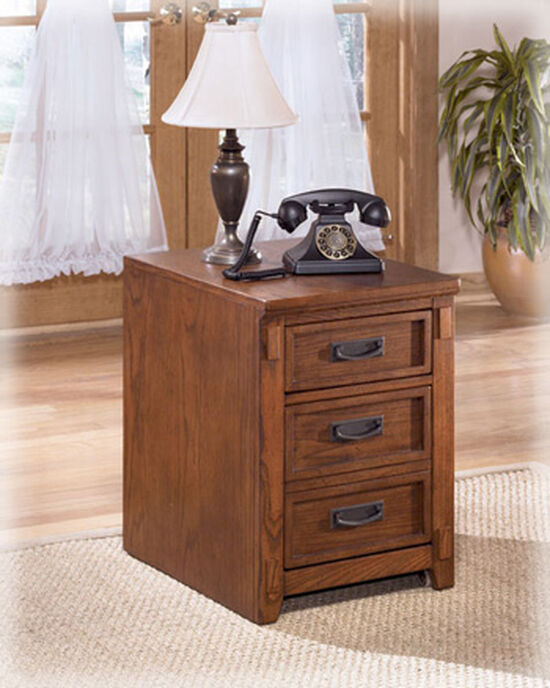 Three-Drawer Mission File Cabinet in Medium Oak