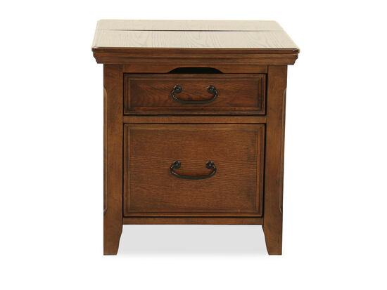 Square Country End Table with Workspacein Dark Oak