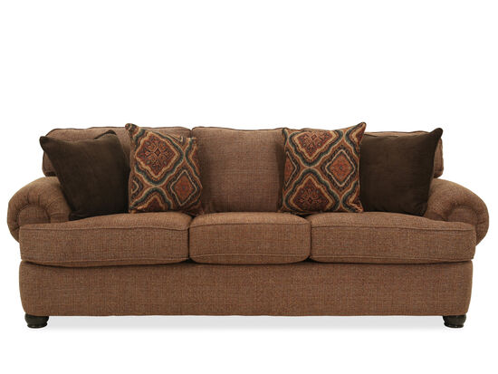 """Transitional 96"""" Rolled Arm Sofa in Brown"""