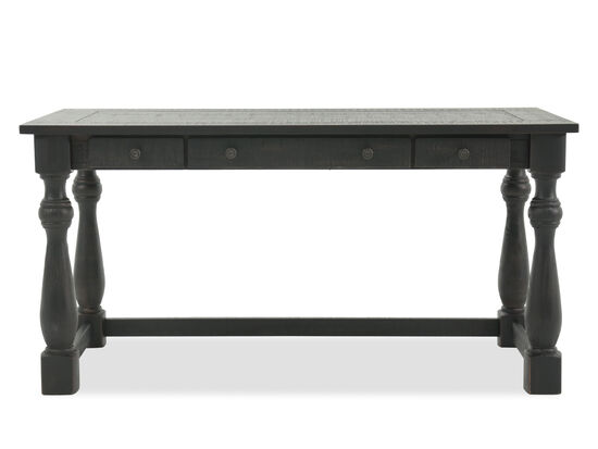"60"" Transitional Three-Drawer Writing Desk in Black"