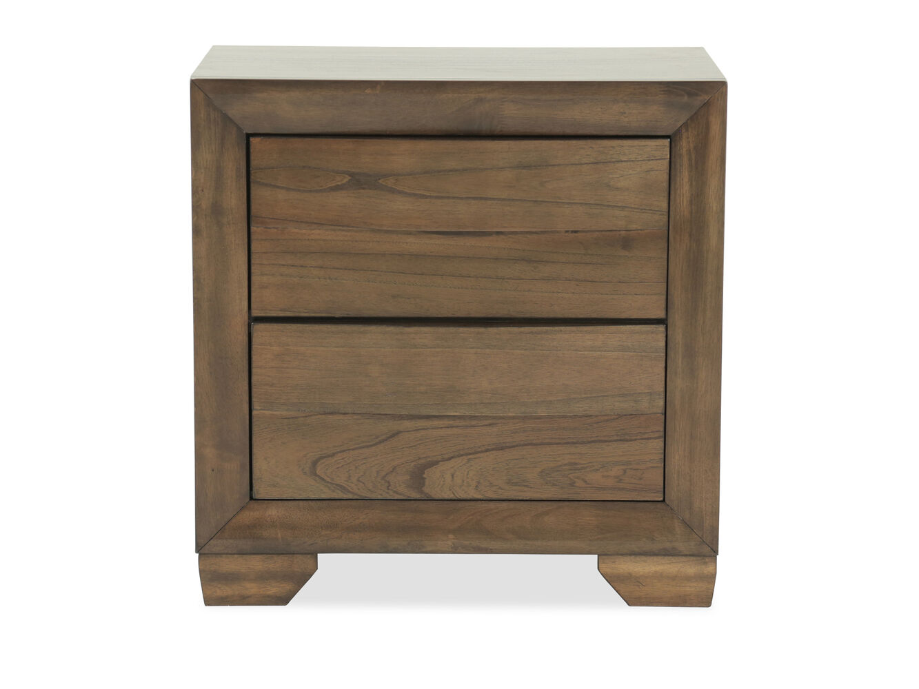 26 5 contemporary two drawer nightstand in brown mathis for Contemporary dressers and nightstands