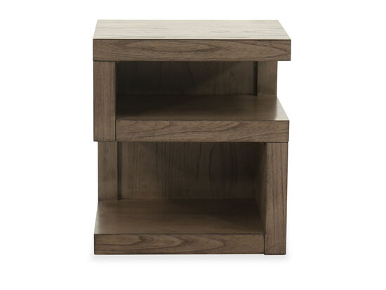 """25"""" Contemporary S-Shaped Nightstand in Graystone"""