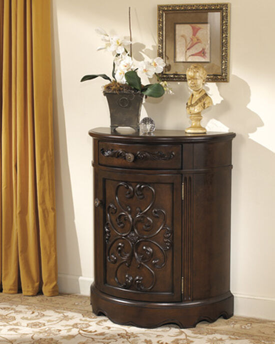 36'' Carved Door Traditional Accent Cabinet in Dark Brown