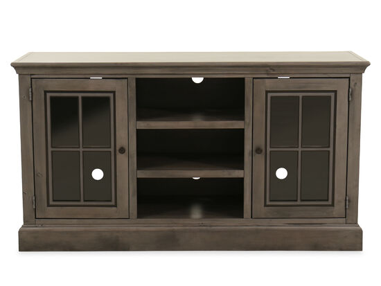 Traditional Rectangular Entertainment Console in Smokey Gray