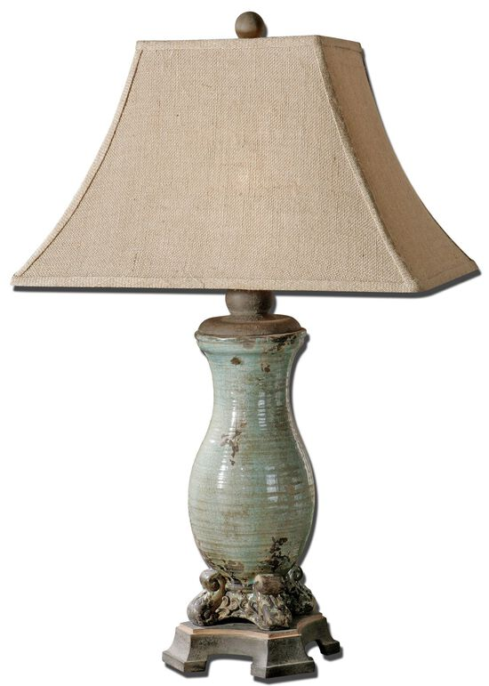 Distresed Base Table Lamp in Light Blue