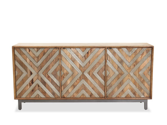 Chevron Metal Inlaid Casual Entertainment Console in Brown