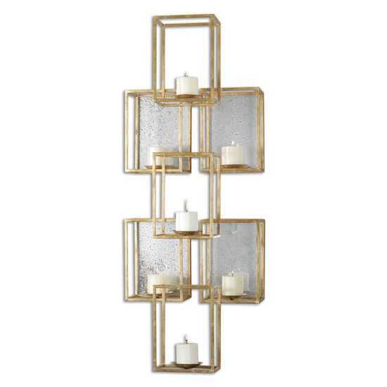 Stacked Cube Mirrored Wall Sconce in Gold Leaf