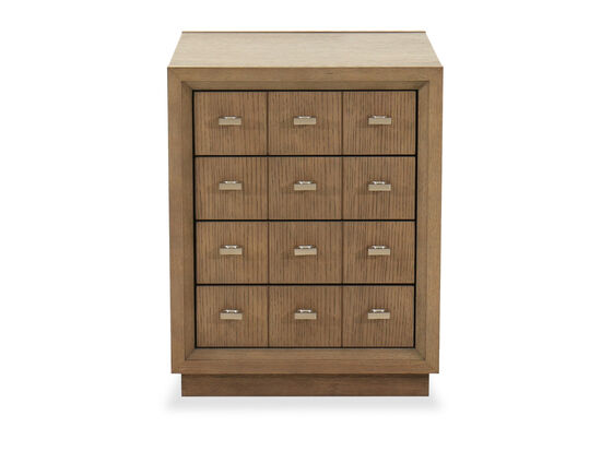 Contemporary Four-Drawer Side Table in Brown