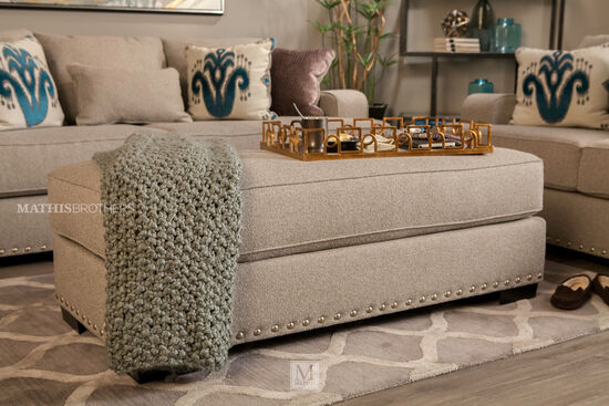 "Nailhead Accented Traditional 22"" Ottoman in Gray"