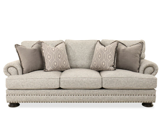 "Nailhead-Accented 97.5"" Sofa in Gray"