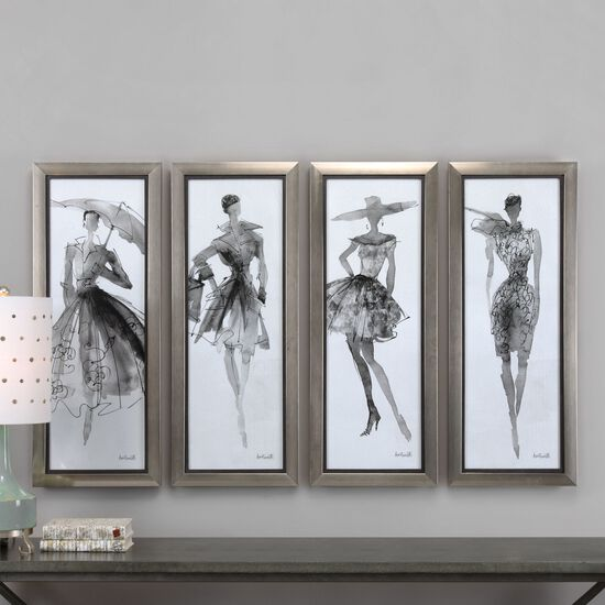 Four-Piece Fashion Sketchbook Printed Wall Art Set in Black/White