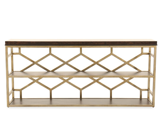 Transitional Geometric Openwork Console Table in Bronze