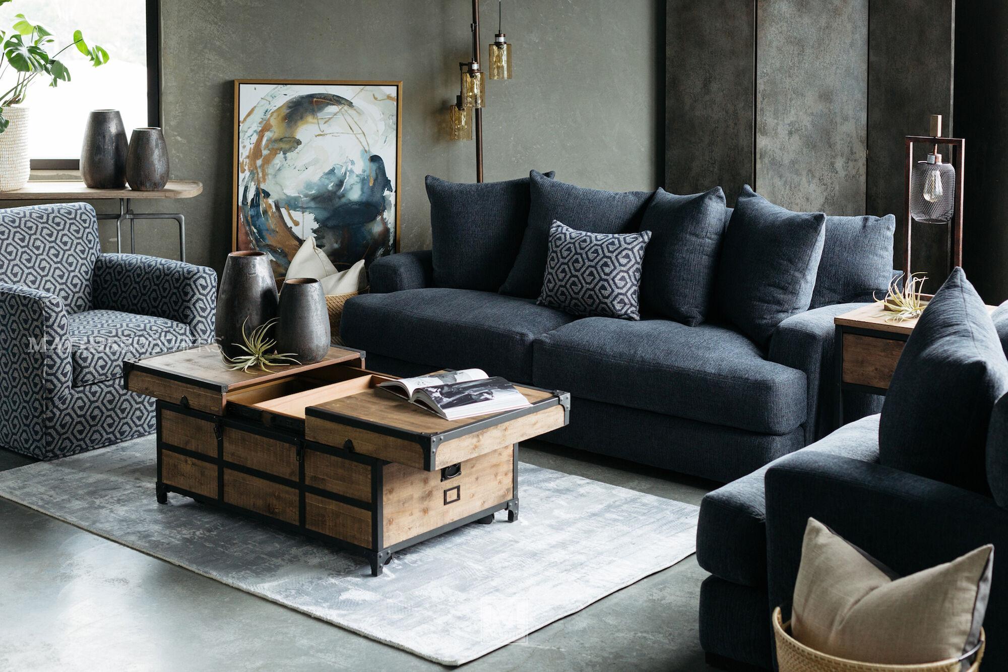 Contemporary 87 Quot Sofa In Denim Mathis Brothers Furniture